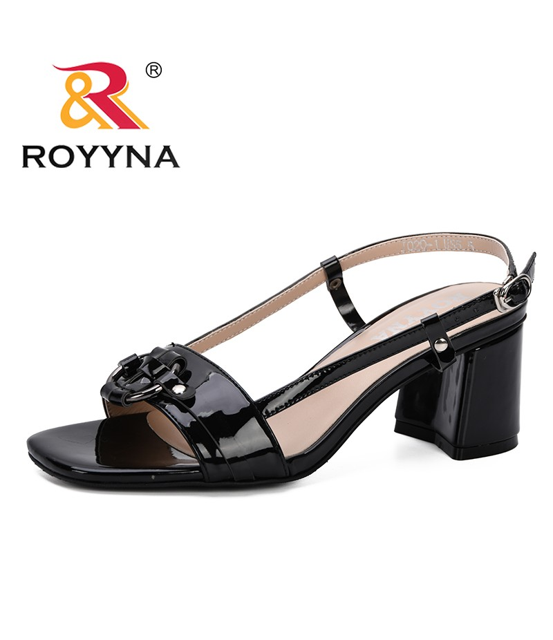 ROYYNA 2019 New Women Sandals Fashion Square High Heel Summer Slippers Women Sexy Open Toe Sandals for Woman Summer Shoes Comfy
