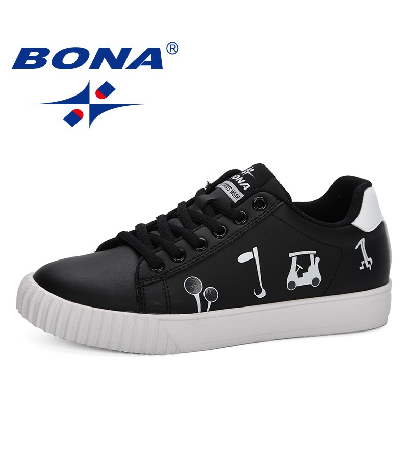 BONA 2019 Women Shoes Fashionable Popular Female Casual Shoes Lace Up Print Trendy Leisure Footwear Feminimo Comfy Sneakers Shoe