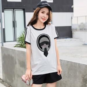 ROYYNA C18616 Fashion Design Style Women Suits Shorts Print Regular Elastic Waist O-Neck None Sweet Modal Half Free Shipping
