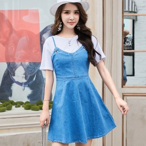 ROYYNA Short Summer Sundress Backless Demin Cotton Tie Up Mini Dress Female High Waist Slim Casual Dress Women Free Shipping