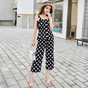 ROYYNA New Arrival Sweet Style Women Suits Polyester Sleeveless Strapless Elastic Waist Short Polka Dot Lady Summer Suits