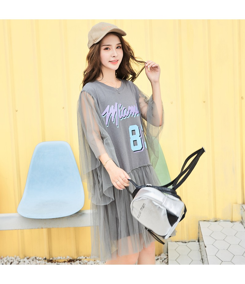 ROYYNA Summer Style Mesh Women Three Quarter Draped Pleated Casual Dress Natural V-Neck Lantern Sleeve Letter Draped