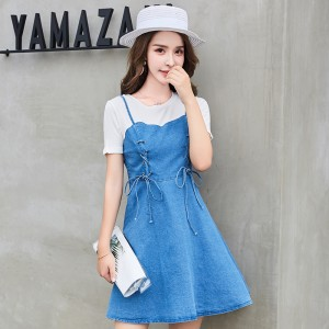 ROYYNA Women Dress Preppy Style A-Line Short None Decoration Knee-Length Lantern Sleeve Casual Lady Clothing Summer Bow