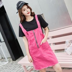 ROYYNA Women Dress Streetwear Style Denim Straight Solid Short Pockets Knee-Length Spaghetti Strap Natural O-Neck Women Clothing