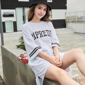 ROYYNA New Casual Style Women Polo Knitted Material Letter O-Neck Regular Three Quarter Comfortable Lady Spring & Autumn Clothes