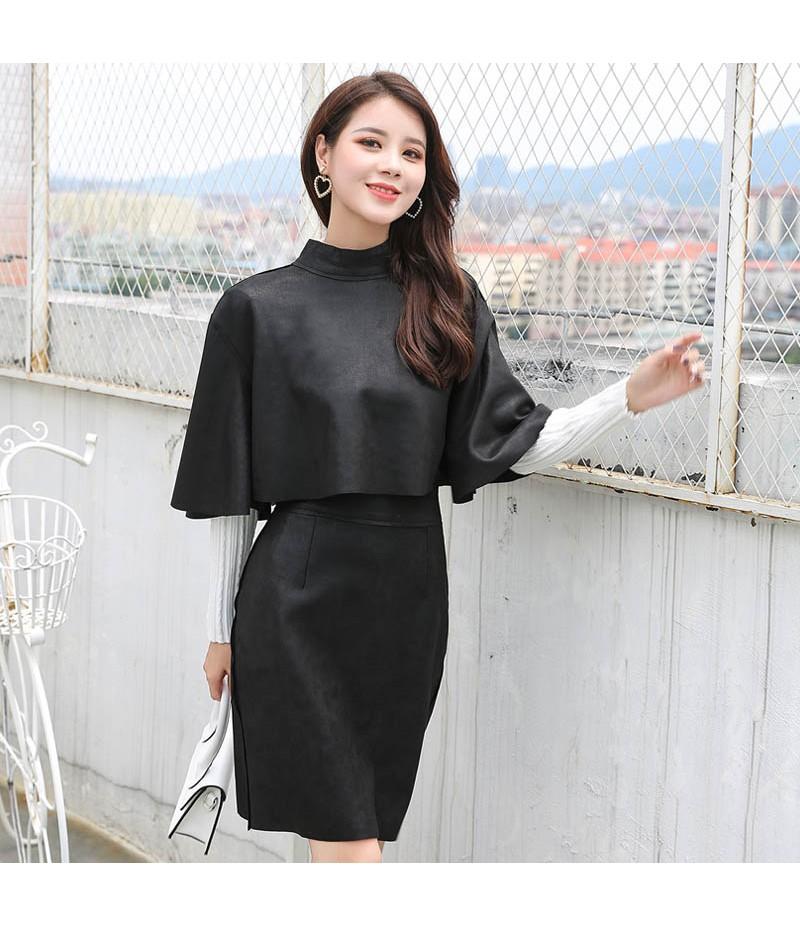 ROYYNA韩版时尚两件套 套装立领喇叭袖斗篷上衣+高腰包臀半身裙