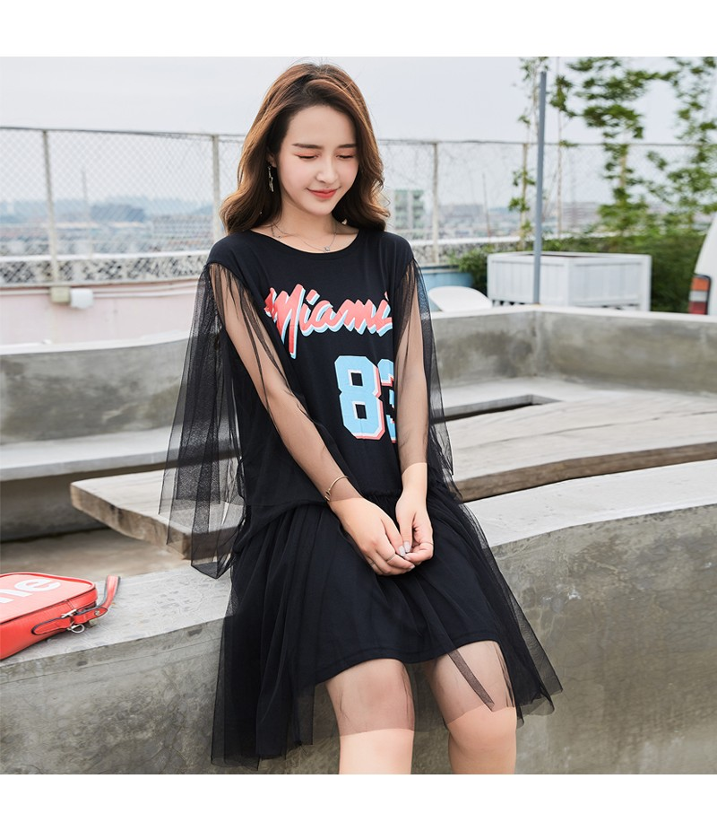 ROYYNA New Streetwear Style Women One-Piece Dress Modal Voile A-Line Letter Sleeveless Knee-Length Flare Sleeve O-Neck Natural