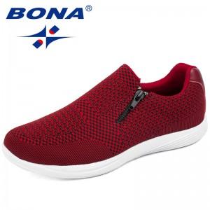 BONA New Mesh Weaving Upper Women Casual Shoes Round Toe Ladies Flats Light Soft Women Vulcanize Shoes Confortable Free Shipping