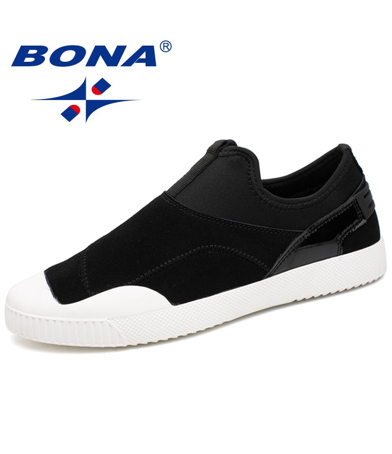 BONA New Fashion Style Elastic Band Men Canvas Shoes Outdoor Men Loafers Comfortable Male Shoes Light Soft Fast Free Shipping