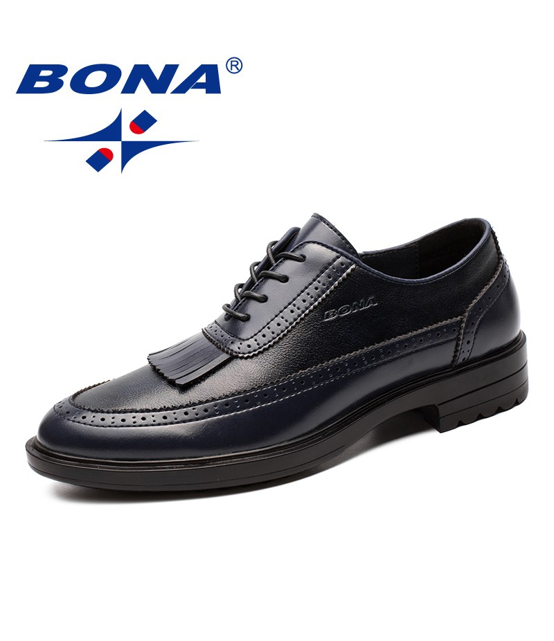 BONA New Arrival Popular Style Men Formal Shoes Geniune Leather Men Dress Shoes Round Toe Male Office Shoes Fast Free Shipping