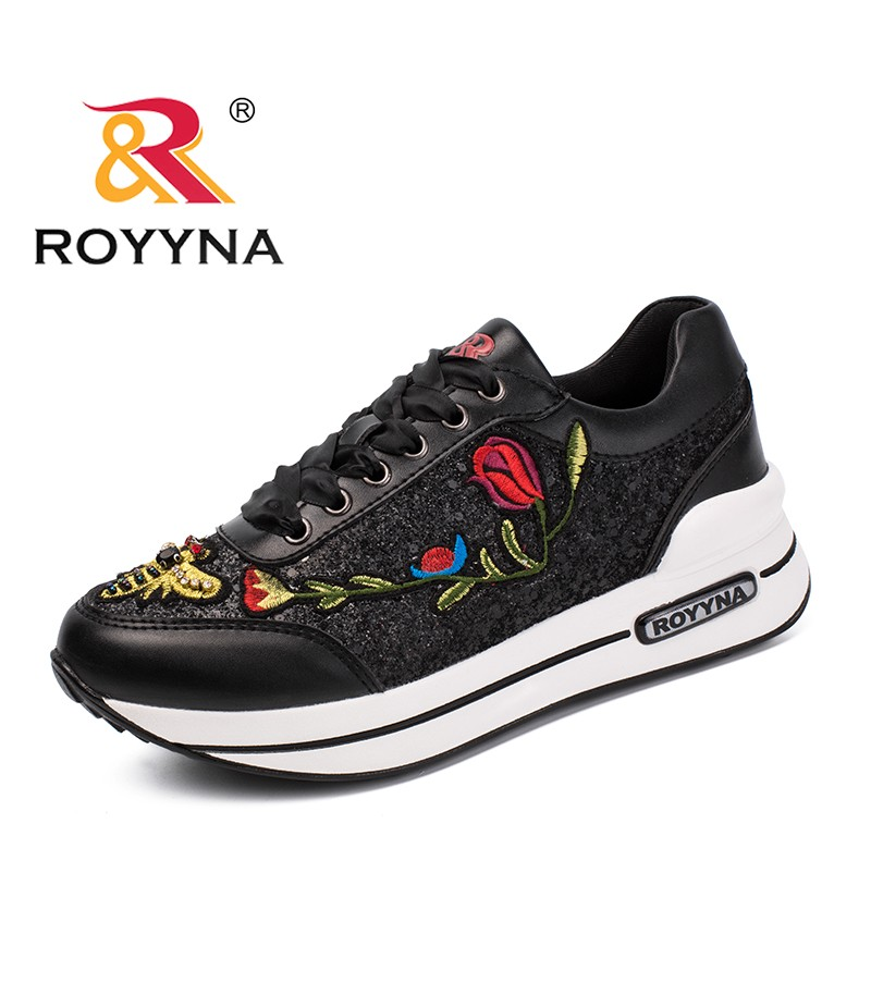 ROYYNA New Arrival Trendy Design Women Sneakers Shoes Increasing Height Femme Flats Flower Lady Wedding Shoes Female Casual Shoes