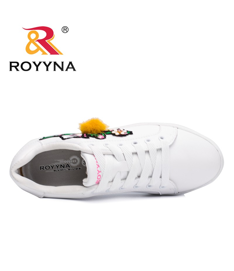 ROYYNA New Popular Style Women Outdoor Sneakers Shoes Flower Femme Flats Microfiber Lady Casual Shoes Lace Up Zapalillas Mujer