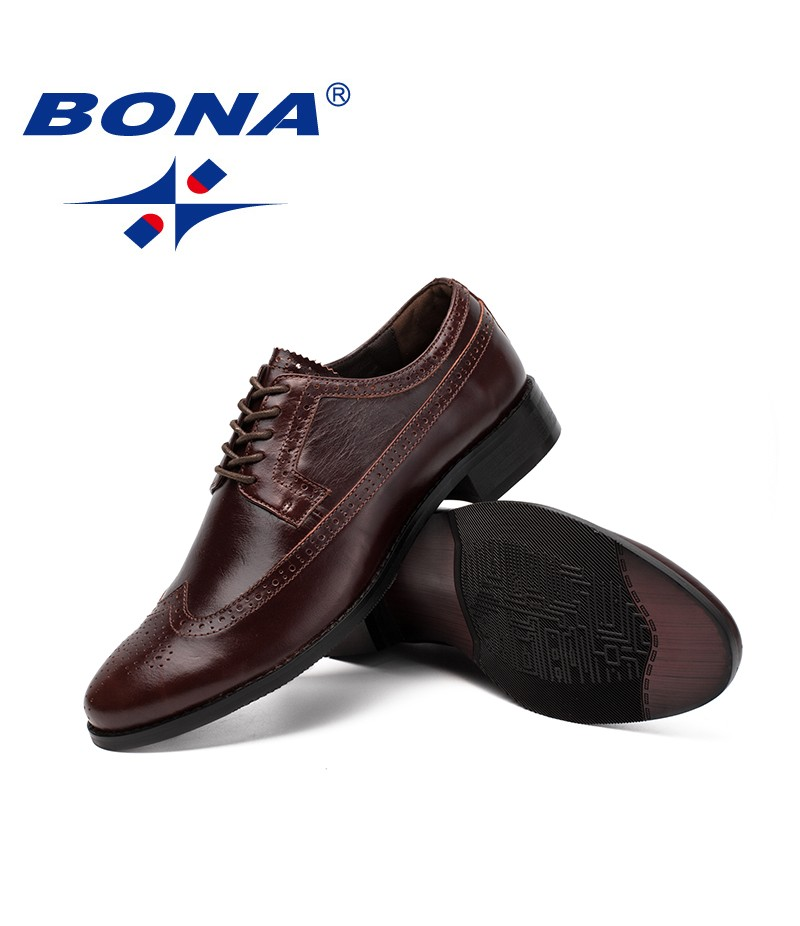 BONA New Classics Style Men Formal Shoes Geniune Leather Men Oxfords Shoes Round Toe Male Office Shoes Comfortacle Free Shipping