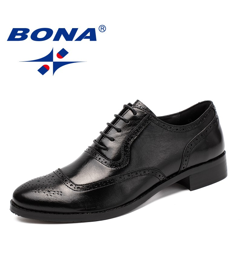 BONA New Classics Style Men Formal Shoes Geniune Leather Men Dress Shoes Lace Up Male Office Shoes Comfort Fast Free Shipping