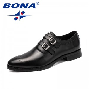 BONA New Classics Style Men Office Shoes Buckle-Strap Male Dress Shoes Black Geniune Leather Men Formal Shoes Free Shipping