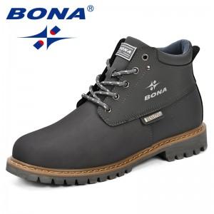 BONA Spring & Autumn Men Boots Split Leather Men Casual Fahsion Ankle Boots Outdoor Comfortable Men Leather Boots For Men Shoes