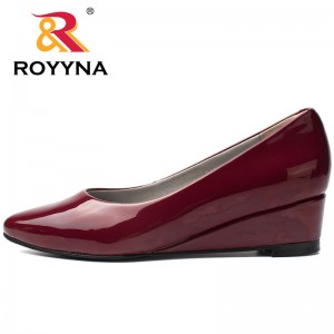 ROYYNA Elegant Style Women Pumps Patent Leather Women Shoes Shallow Wedges Ladies Casual Shoes Outdoor Walking Female