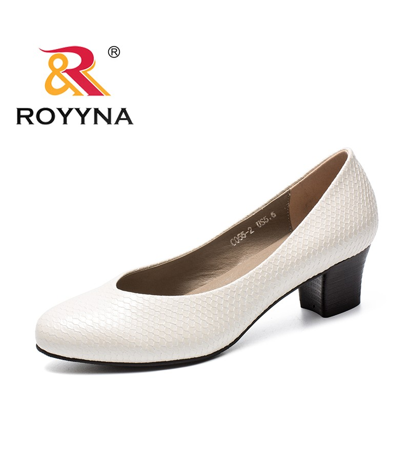 ROYYNA New Fashion Style Women Pumps Round Toe Femme Dress Shoes Slip-On Female Office Shoes Square Heels Lady Wedding Shoes