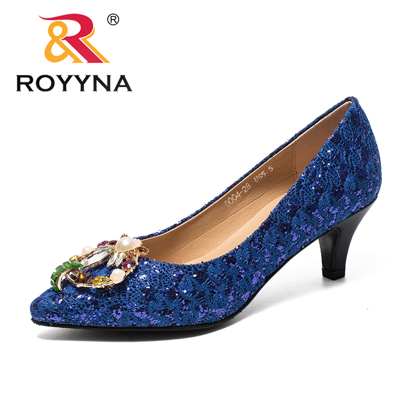 ROYYNA New Classics Style Women Pumps Crystal Feminimo Dress Shoes High Thin Heels Lady Wedding Shoes Comfortable Free Shipping