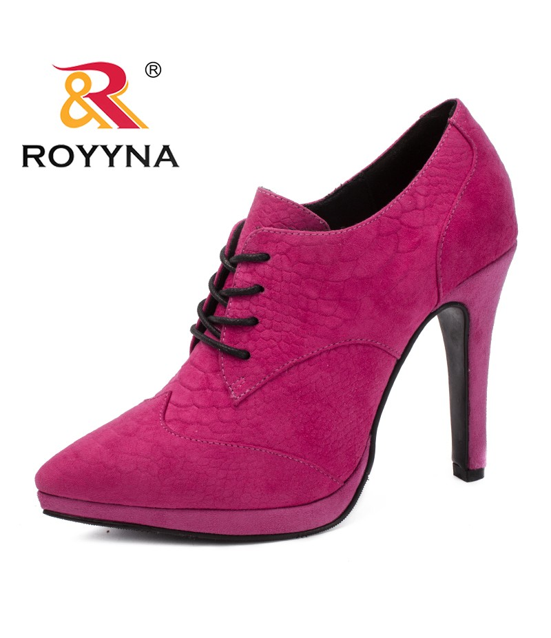 ROYYNA New Classics Style Women Pumps Lace Up Women Dress Shoes Pointed Toe Lady Wedding Shoes Comfortable Soft Free Shipping