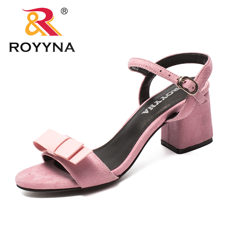 ROYYNA New Classics Style Women Sandals Butterfly-Knot Femme Summer Shoes Square Heels Flock Lady Slippers Light Free Shipping