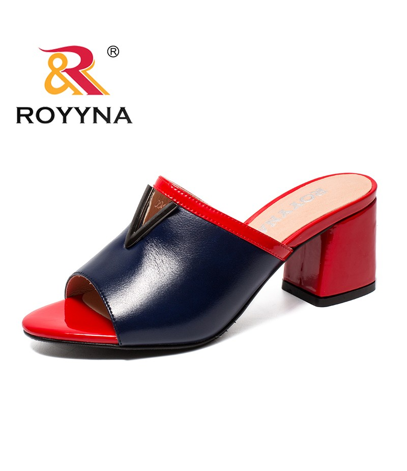 ROYYNA New Fashion Style Women Slippers Microfiber Feminimo Summer Shoes High Square Heels Lady Sandals Light Fast Free Shipping