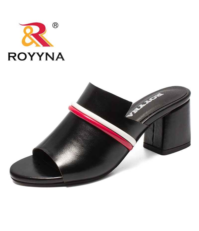 ROYYNA New Popular Style Women Slippers Microfiber Female Summer Shoes High Square Heels Lady Slides Comfortable Free Shipping