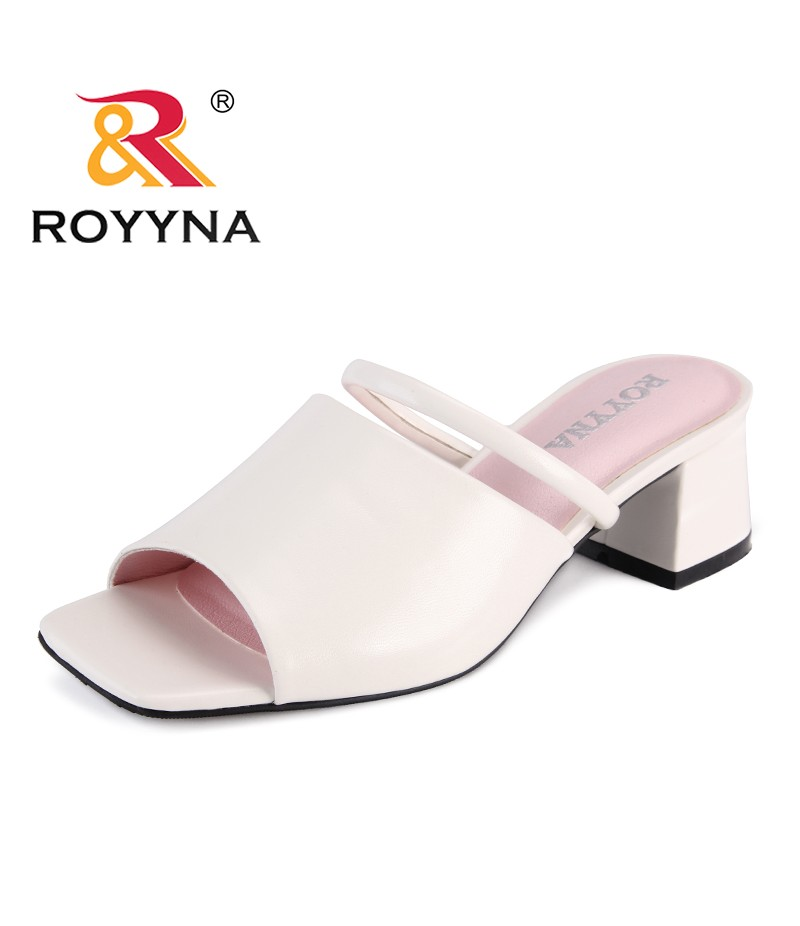 ROYYNA New Popular Style Women Slippers Microfiber Femme Summer Shoes Hoof Heels Lady Slides Comfortable Light Free Shipping
