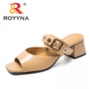 ROYYNA New Arrival Classics Style Women Slippers Square Heels Femme Summer Shoes Candy Color Lady Sandals Light Free Shipping