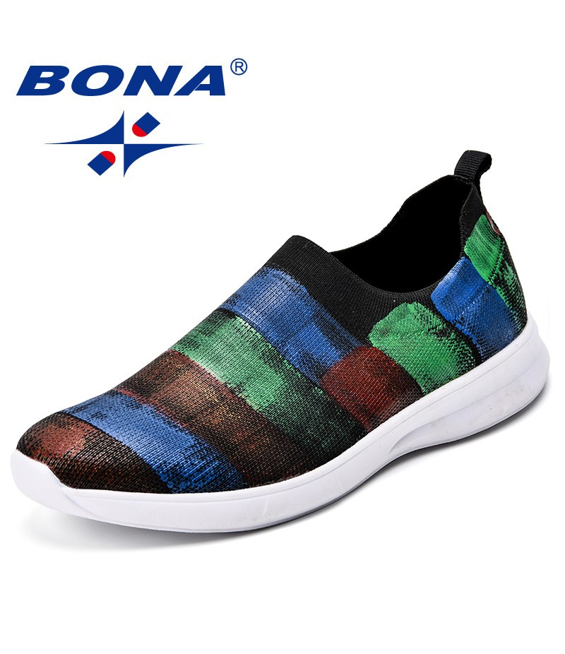 BONA New Arrival Popular Style Men Sneakers Slip-On Stretch Fabric Men Casual Shoes Outdoor Breathable Men Leisure Shoes Light