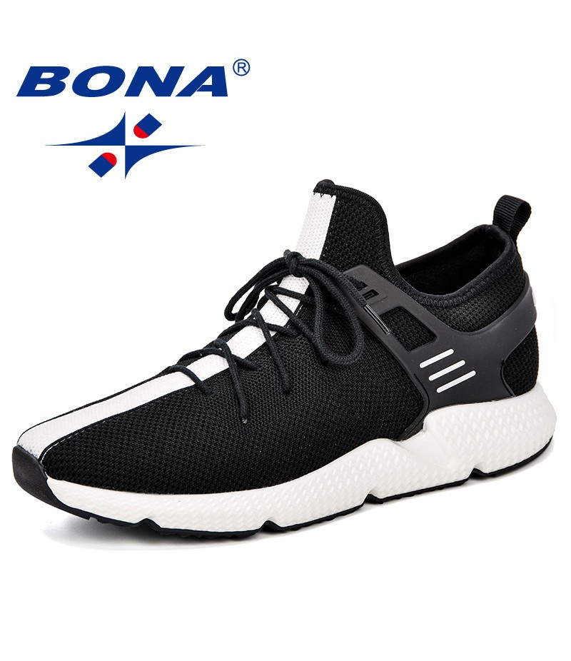 BONA New Design Men Running Shoes Elastic Band Athletic Trainers Zapatillas Sports Shoes Breathable Outdoor Walking Sneakers