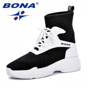 BONA Sock Boots Woman Front Lace Up High Top 2018 Autumn Female Casual Shoes Platform Breathable High Quality Trendy Ankle Boots