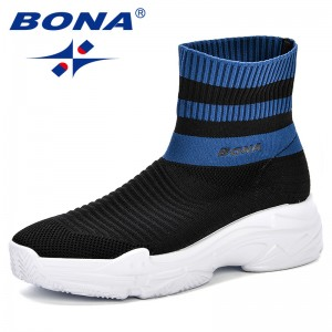 BONA 2018 Women Fly-Knit Sock Boots Breathable Spring & Autumn Platform Walking Shoes Comfortable Trendy Ladies Sneakers Shoes