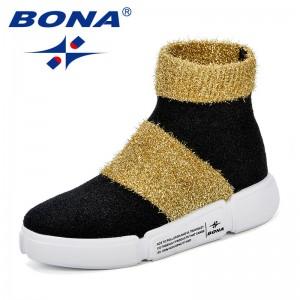 BONA New Women Sock Boots Round Toe Elastic High Boots Comfy Slip On High Heels Ankle Boots Flat Platform Botas Feminino Shoes