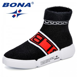 BONA 2018 New Sock Boots Solid Platform Footwear Stretch Fabric Round Toe Casual Sneakers Women Ankle Boots Feminimo Comfortable