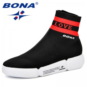 BONA Woman Brand Outdoor Athletic Shoes Fly-Knit Walking Shoes High Quality Fabric Outdoor Jogging Antiskid Womens Sneakers