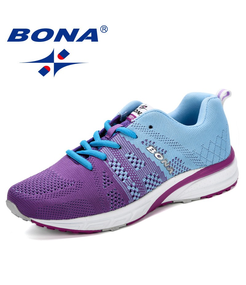 BONA New Running Shoes Women Jogging Sneakers Fly- Knitting Breathable Mesh Lace-Up Outdoor Training Fitness Sport Shoes Female