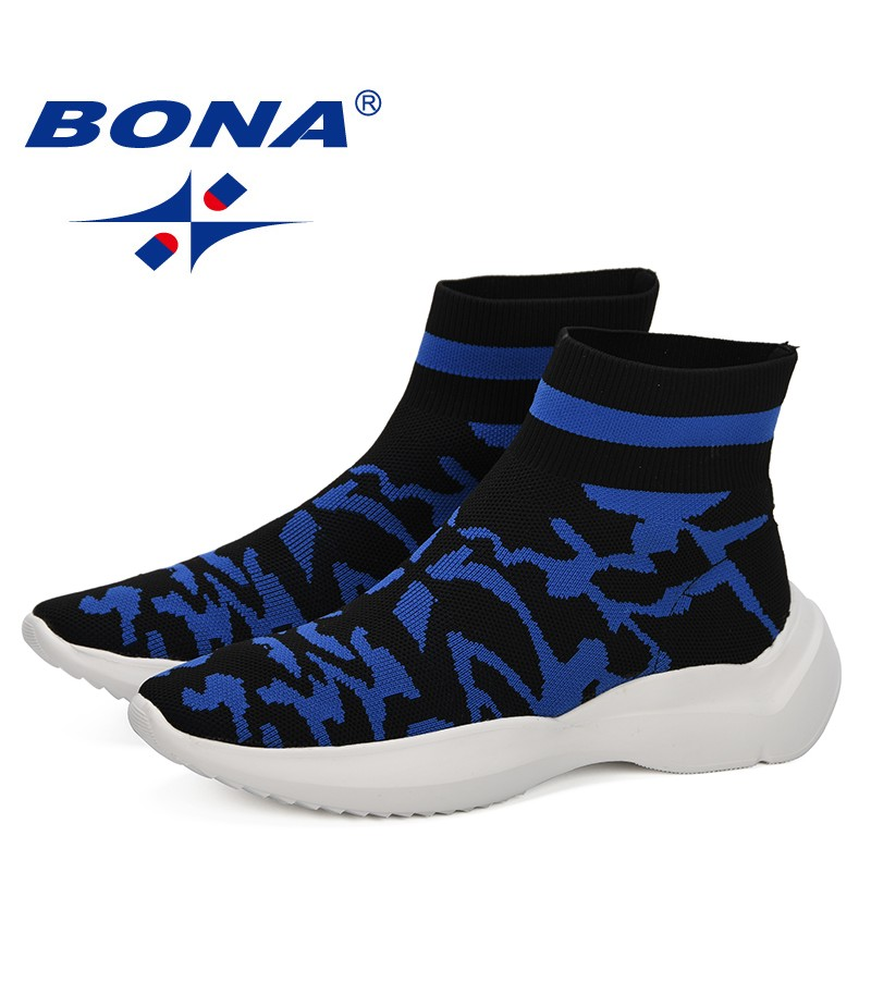 BONA 2019 New Style Fashion Men's Sneakers Flying Weaving Trainers Casual Men Shoes High Quality Comfortable Spring Hombre Shoes