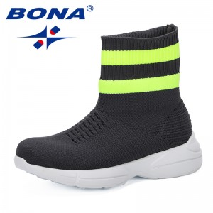 BONA 2019 New Designer Children Flying Sneakers Girls High Top Socks Shoes Kids Breathable Soft Running Shoes Comfortable Trendy