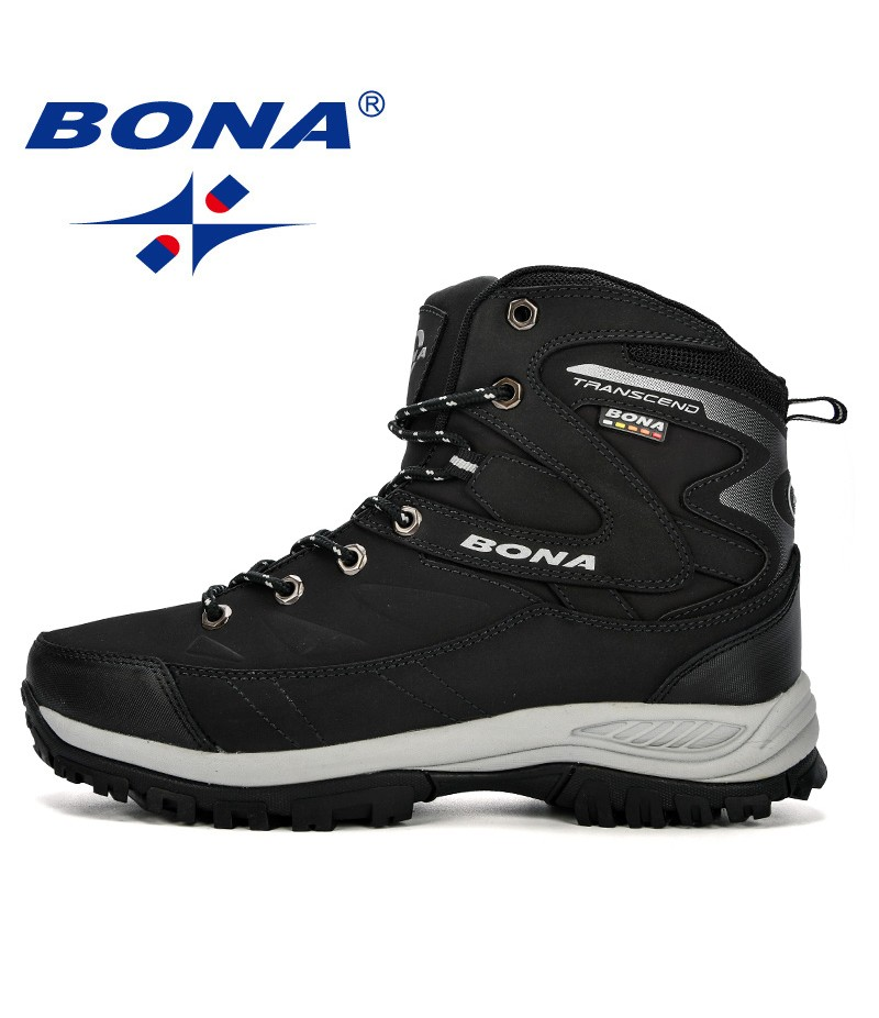 BONA Chinese Shoes manufacture Men Boots Winter Man Shoes Ankle Boots Men Snow Boots Round Toe Plush Keep Warm Men Footwear Lace-Up Casual Trendy Shoes