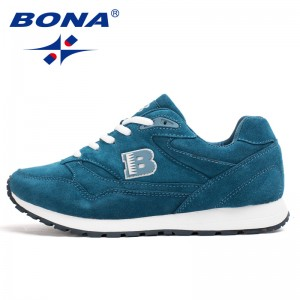 BONA Chinese Shoes Women Running Shoes Cow Split Breathable Lace Up Sport Shoes Light Soft Outdoor Sneakers Shoes Women