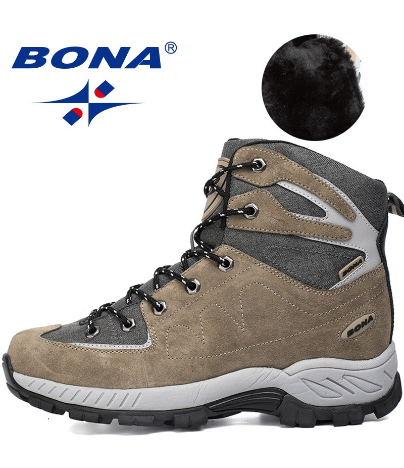 BONA New Hot Style Men Hiking Shoes Outdoor Walking Jogging Trekking Sneakers Lace Up Trail Boots Climbing Outventure Shoes