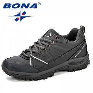 BONA 2018 New Mens Hiking Boots Krasovki Tactical Shoes Breathable Outdoor Comfortable Non-Slip Hiking Shoes Men Mountain Shoes