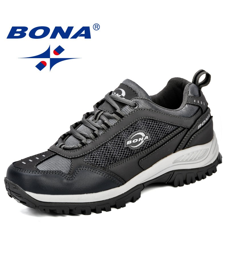BONA New Arrival Big Size Men Hiking Shoes Outdoors Antiskid Breathable Mesh Trekking Hunting Tourism Mountain Jogging Sneakers