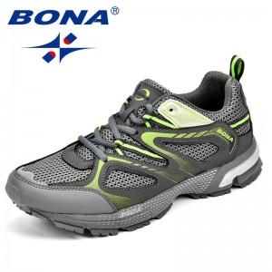 BONA  Shoes made in China Men Running Shoes Cow Split Mesh Men Sport Shoes Lace Up Outdoor Jogging Shoes Free Shipping