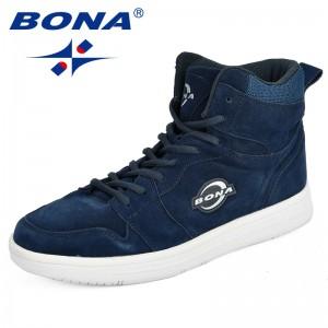 BONA High Top Sneakers Men Suede Lace Up Skateboarding Shoes Spring Autumn Classic Footwear Man Flat Outdoor Walking Sneakers