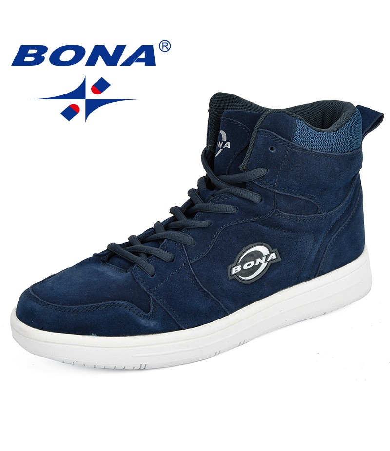 BONA High Top Sneakers Men Suede Lace Up Skateboarding Shoes Spring Autumn Classic Footwear Man Flat Outdoor Walking Sneakers