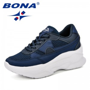 BONA 2019 Breathable Mesh Women Casual Shoes Vulcanize Female Fashion Sneakers Lace Up Comfortable Soft High Leisure Footwears