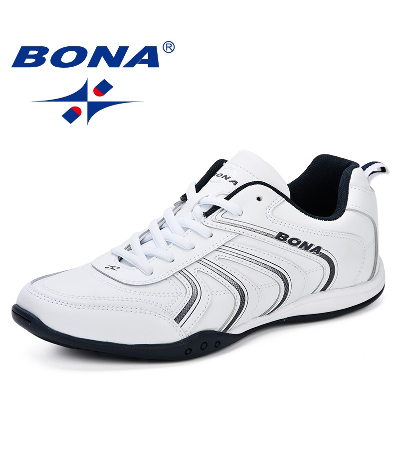 BONA New Classics Style Men Running Shoes Lace Up Men Athletic Shoes Leather Men Outdoor Jogging Shoes Comfortable Sneakers Shoe