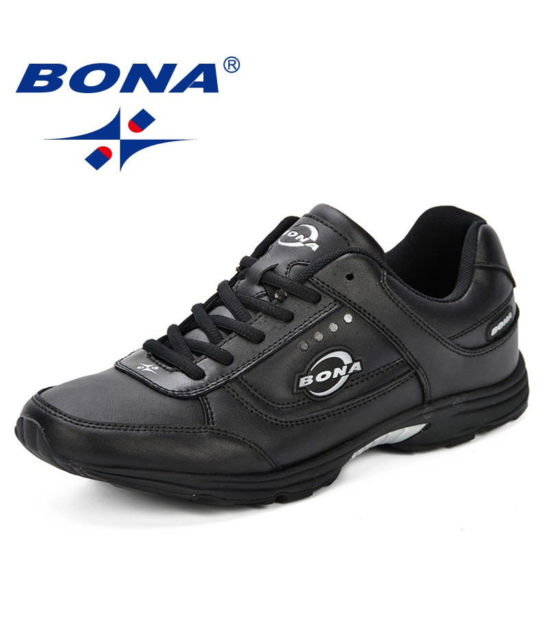 BONA New Krasovki Sports Men's Running Shoes Sneakers Outdoor Leather Breathable Krossovky Walking Athletic Shoes Men's Shoes